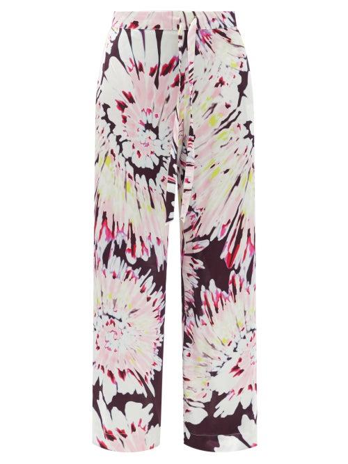 Halpern - Tie Dye-print Satin Wide-leg Trousers - Womens - Pink Multi