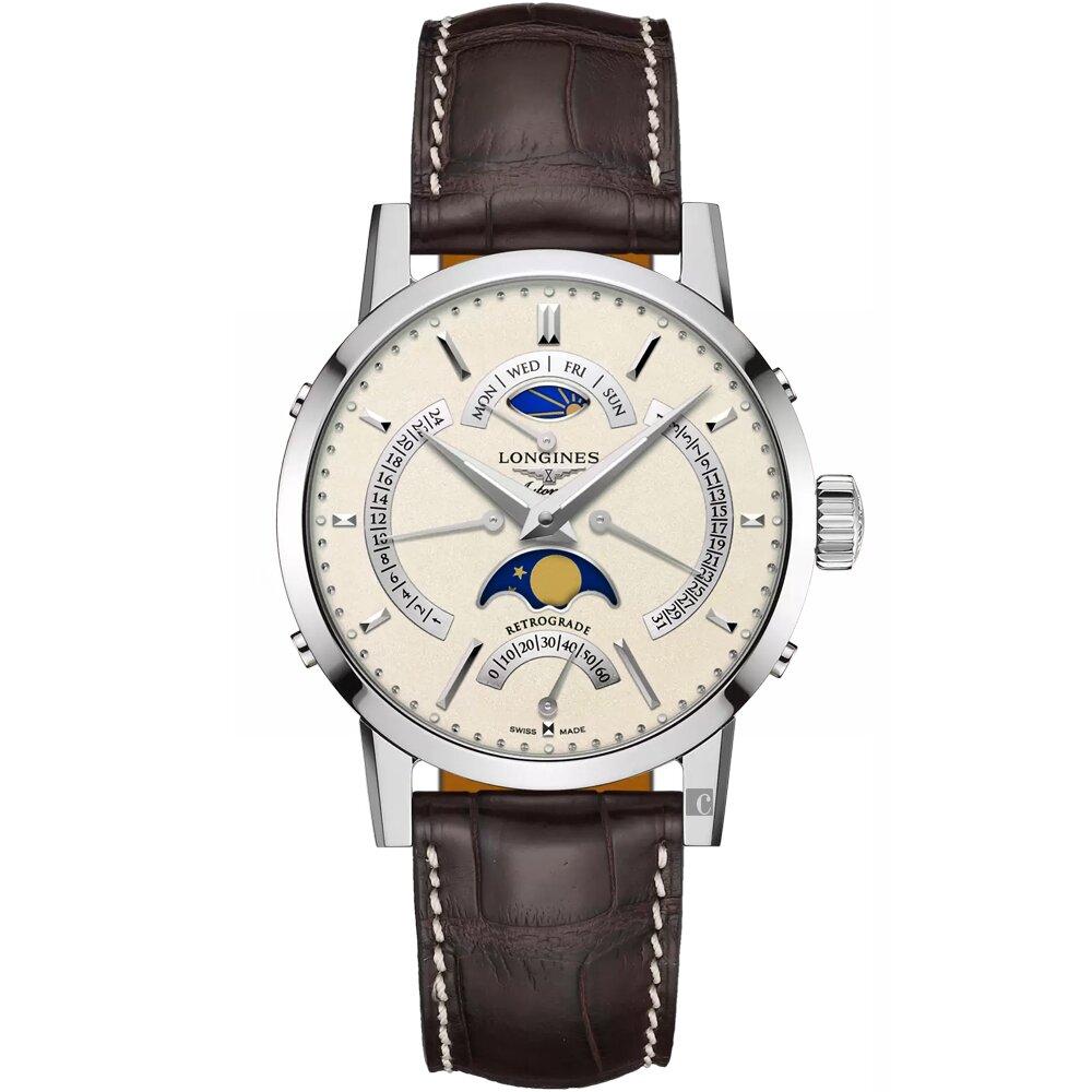 LONGINES浪琴 Heritage 1832四逆跳月相機械錶-42mm L48284922