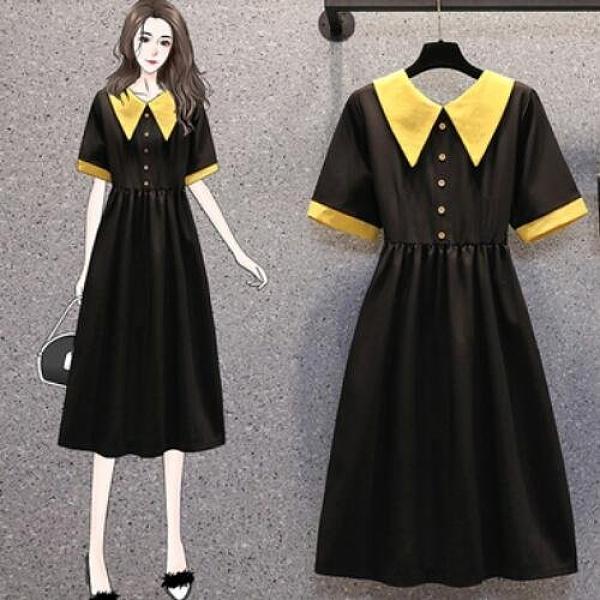 洋裝短袖裙子中大尺碼L-4XL新款胖mm減齡顯瘦赫本風寬鬆連身裙3F048A-9010.一號公館