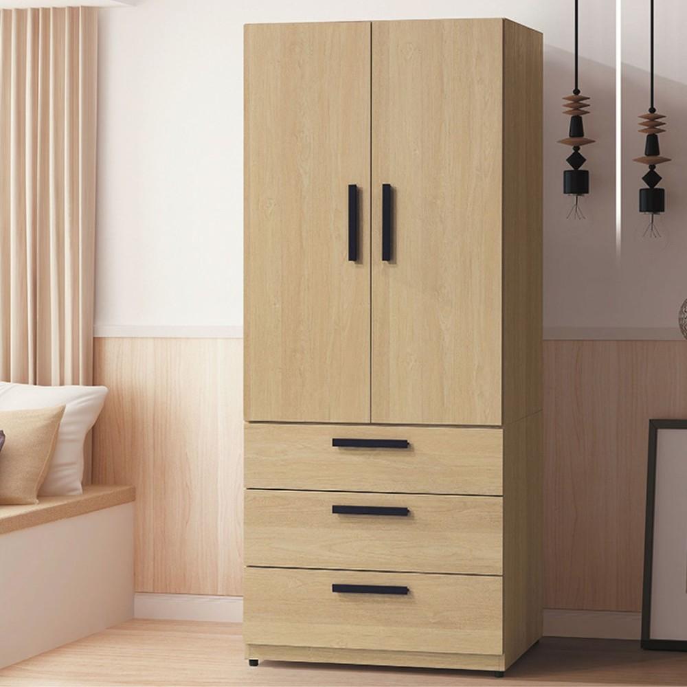 80cm衣櫃-k58-277木心板 推門滑門開門 衣服收納 免組裝 金滿屋