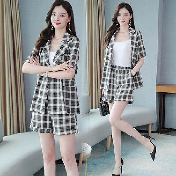 兩件套短袖韓版L-5XL大碼復古格子套裝夏季新款遮肚開衫外套小個子短褲M031韓衣裳