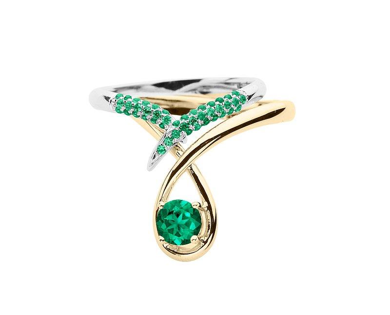 祖母綠14k金結婚戒指組合 水滴形求婚戒指 流星訂婚戒指套裝