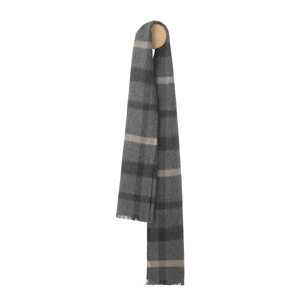 Elvang London 30x160cm 100% 倫敦系列 格紋 超輕量 羊駝毛 圍巾(雅痞黑灰)
