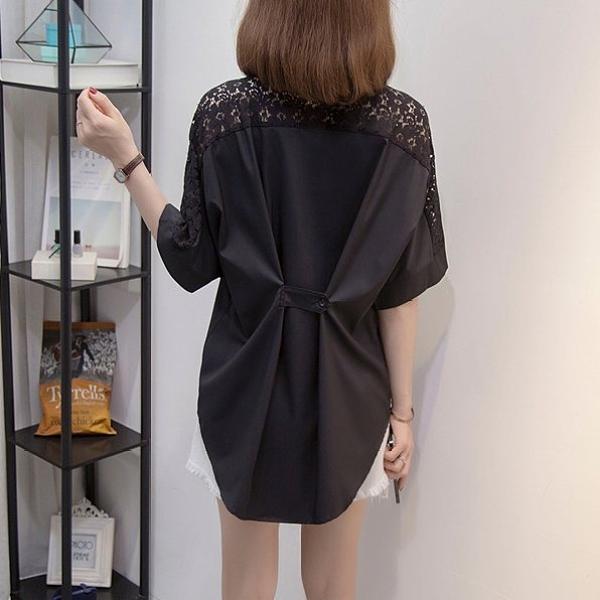 雪紡衫襯衫襯衣L-4XL中大尺碼減齡甜美娃娃領蕾絲襯衫長袖設計感上衣R037.1339韓依紡