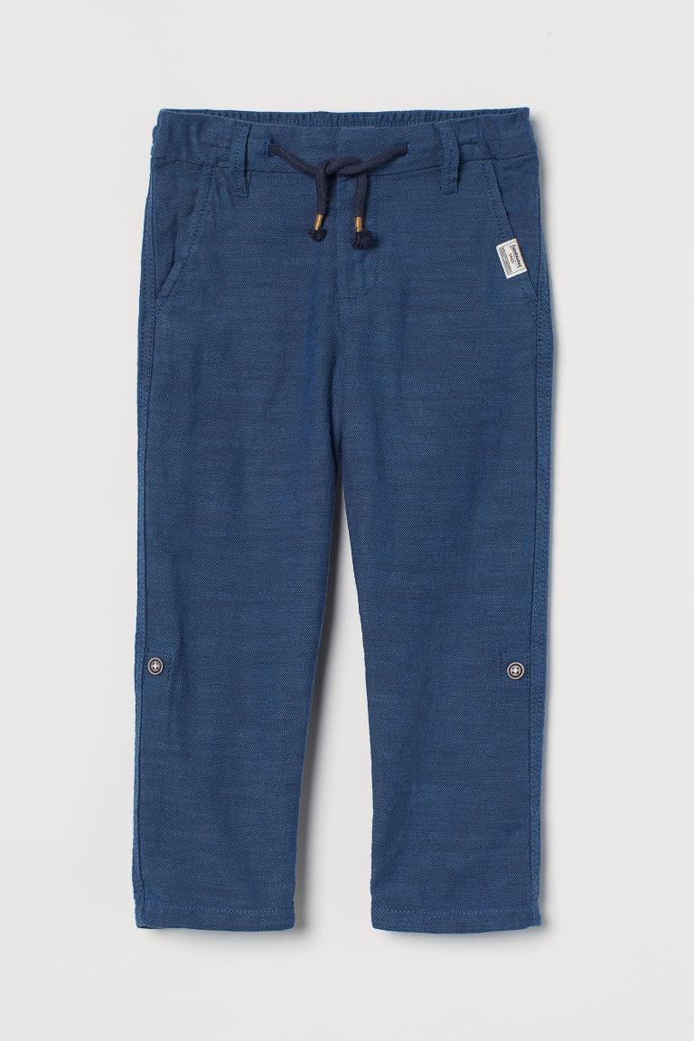 H & M - 直筒斜紋長褲 - 藍色