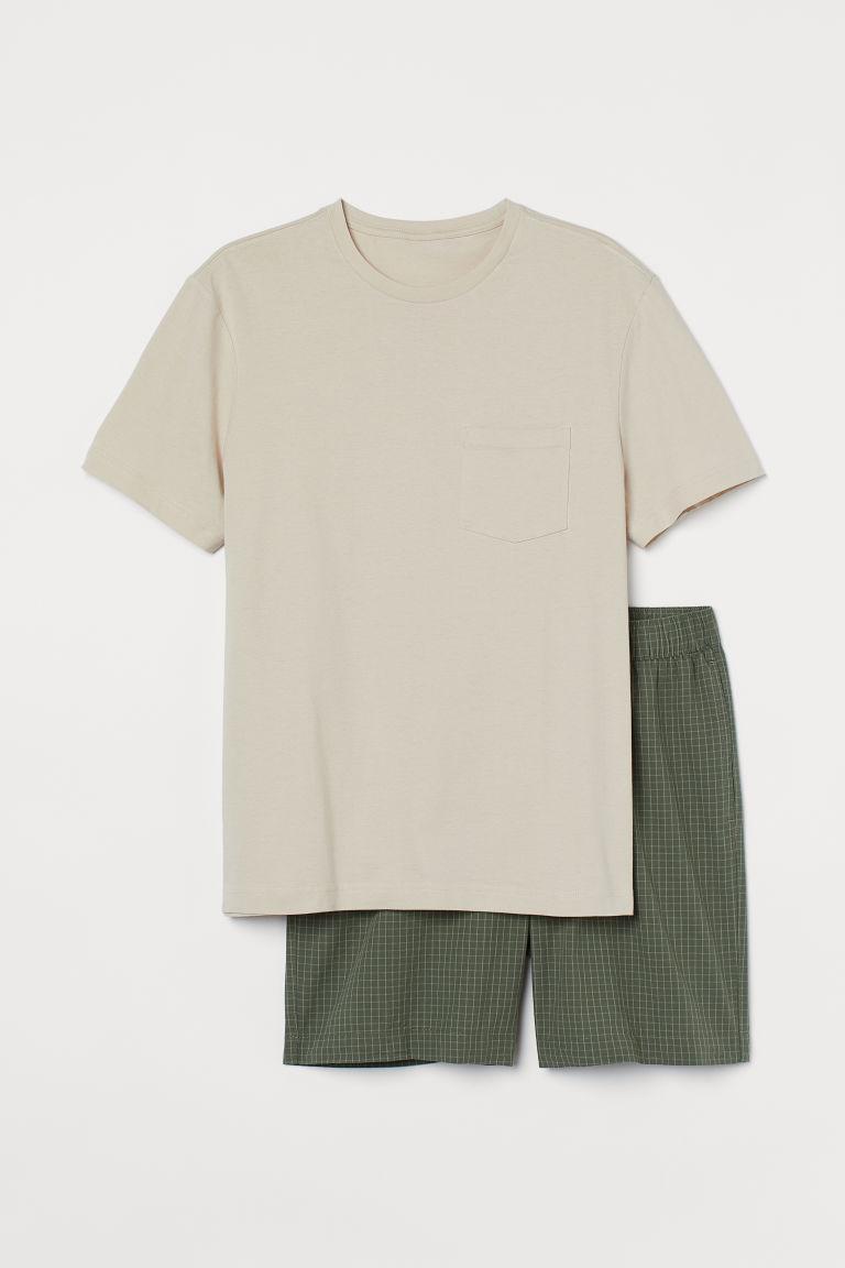 H & M - T恤配短褲睡衣套裝 - 綠色