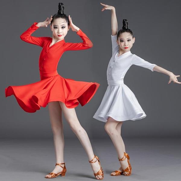 拉丁舞服兒童春夏新款女孩連體少兒規定比賽考級拉丁舞蹈裙練功服