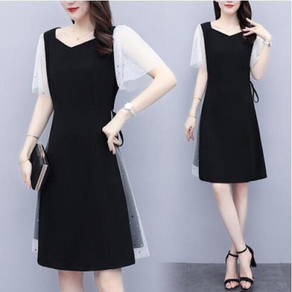 裙子洋裝裙子職業裙中大尺碼L-5XL新款大碼女裝胖MM寬鬆顯瘦網紗拼接連身裙4F004-9176.依品國際