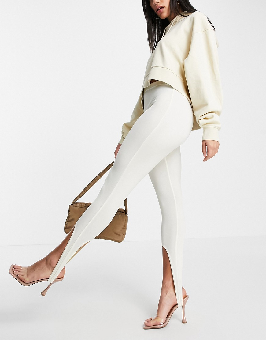 Fashionkilla stirrup leggings in buttercream-White