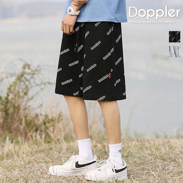 短褲 滿版印花文字寬鬆休閒短褲 棉短褲【TJH2024】現貨+預購 Doppler