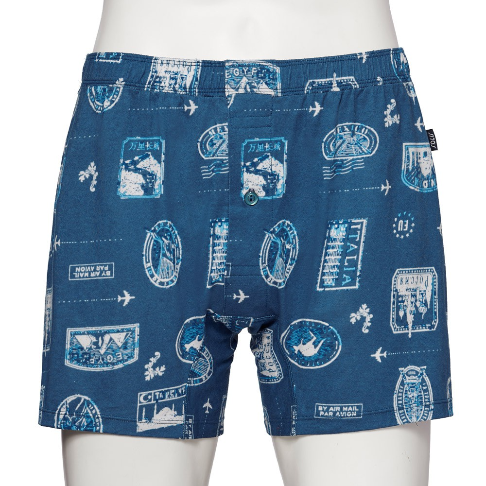 SOLIS 環遊世界 系列 M-XXL 寬鬆 印花 四角 男內褲 (摩洛哥藍)