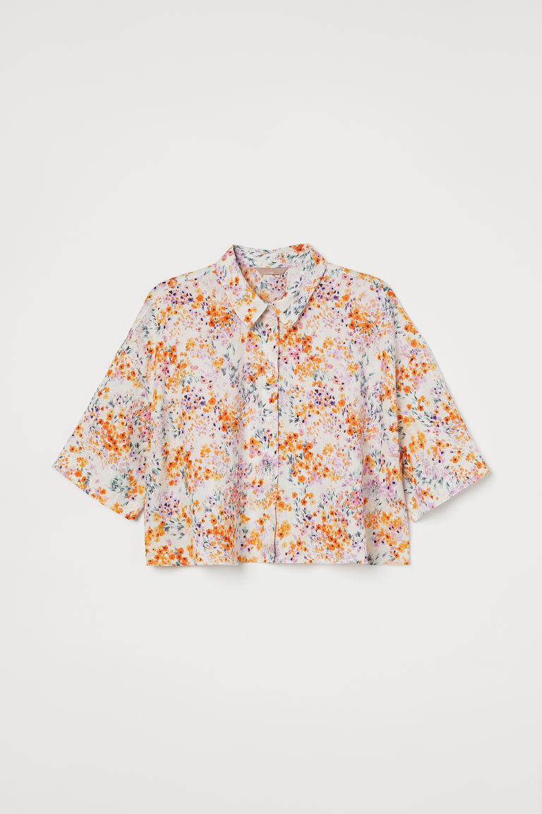 H & M - H & M+ 短版亞麻襯衫 - 米黃色