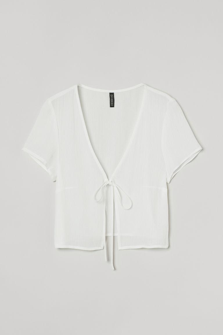 H & M - 綁帶女衫 - 白色