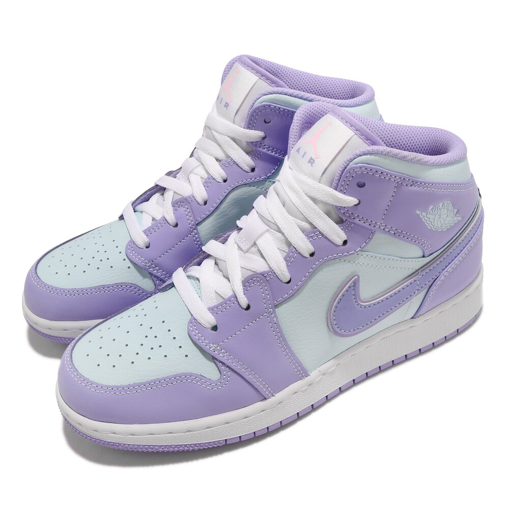 NIKE 休閒鞋 Air Jordan 1 Mid 運動 女鞋 經典款 喬丹一代 皮革 質感 球鞋 穿搭 紫 藍 [554725-500]