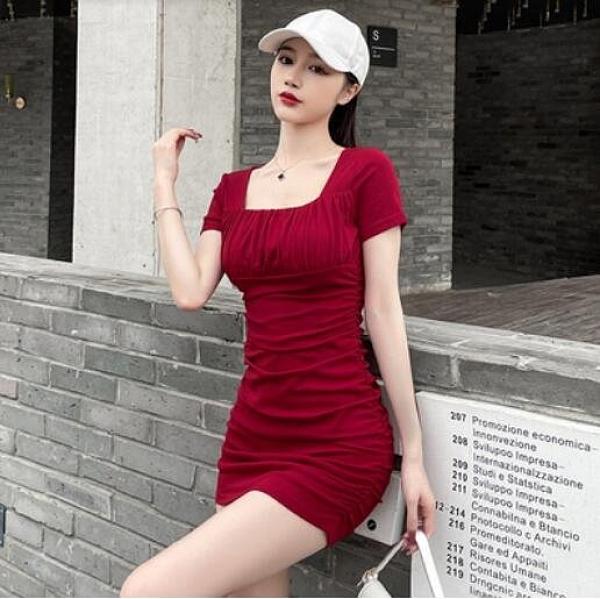 洋裝性感裙S-XL新款性感緊身包臀裙氣質女神範收腰修身顯瘦方領連身裙NE215D-6938.一號公館