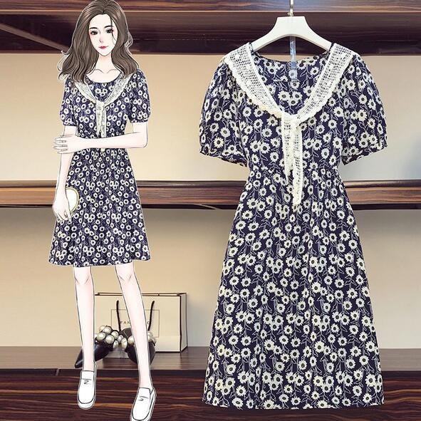 洋裝 碎花裙 中大尺碼L-4XL新款減齡花色蕾絲披肩顯瘦雪紡連身裙4F093-3751.胖胖美依