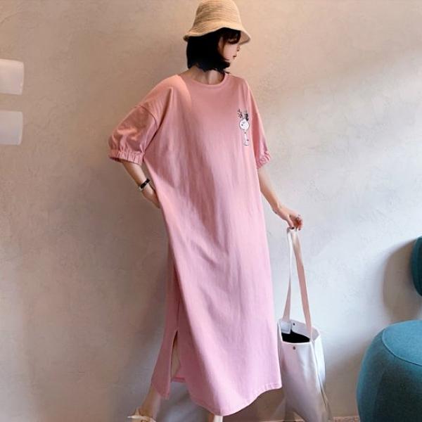 裙子大碼裙子長版衣T裙L-3XL棉花糖大碼長款開叉泡泡袖短袖連衣裙S109.6206依品國際