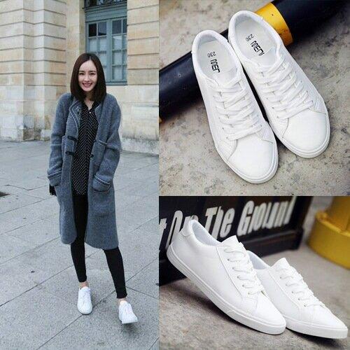 2021新款春季繫帶小白鞋女平底皮面帆布鞋女白色板鞋休閒鞋女1066