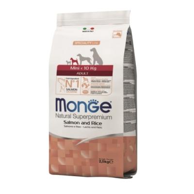 【Monge瑪恩吉】天然呵護小型成犬配方(鮭魚+米)狗飼料2.5kg