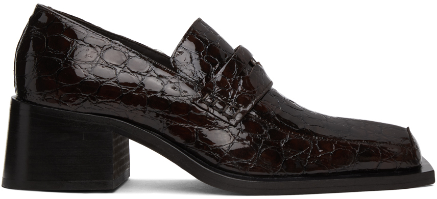 Martine Rose 棕色 Bagleys 鳄鱼纹乐福鞋