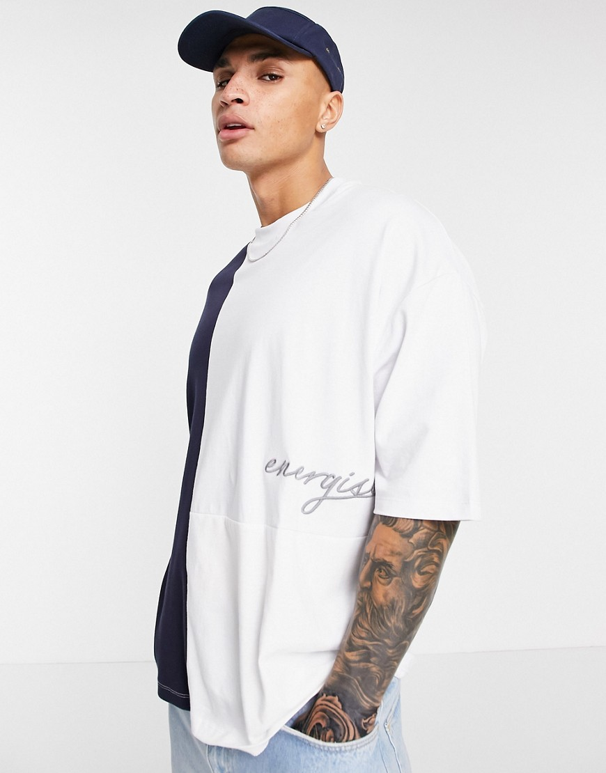 ASOS DESIGN oversized organic t-shirt in colour block with front print-Navy