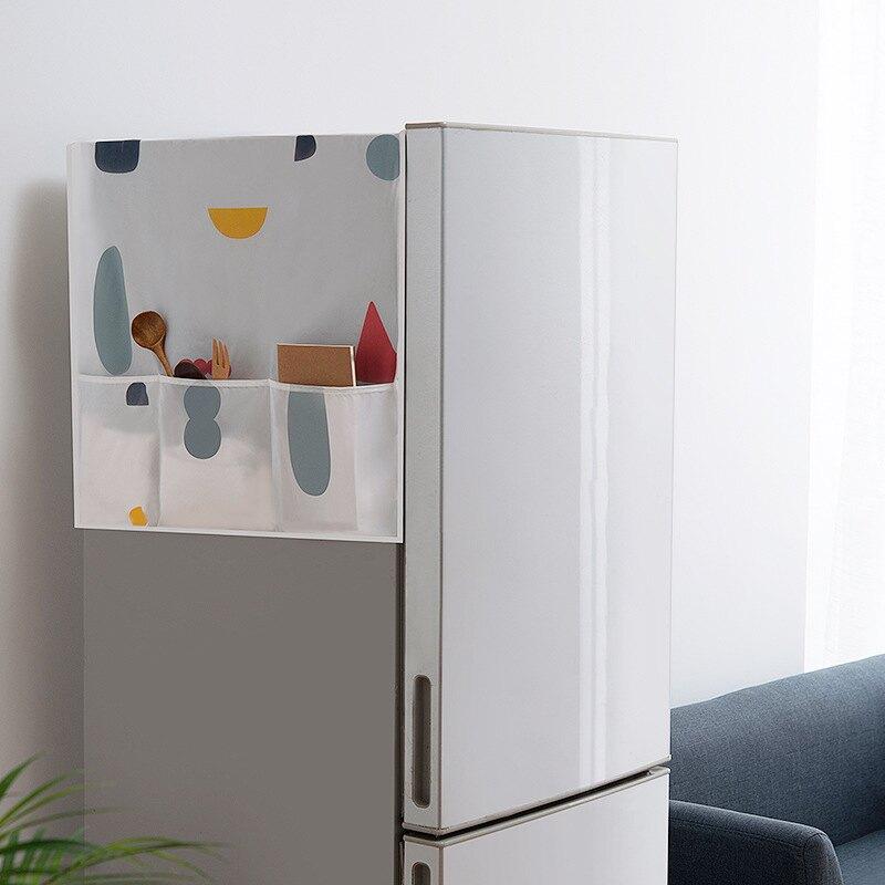 冰箱掛袋冰箱防塵罩防水小清新家用冰箱蓋巾收納袋洗衣機桌子防塵蓋布掛袋 bw1292