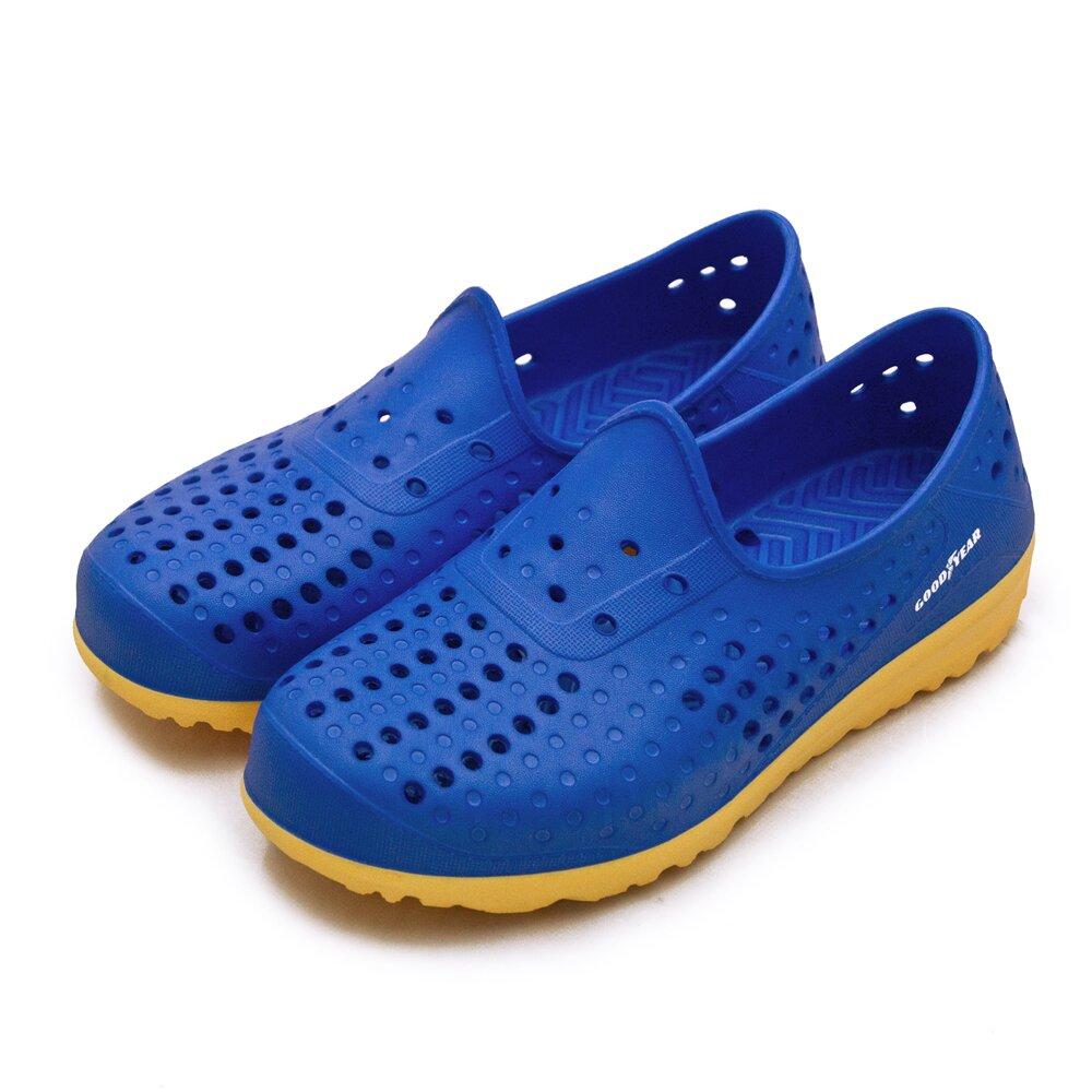【男】GOODYEAR 固特異 排水透氣輕便水陸多功能休閒洞洞鞋 藍橘 03676