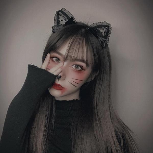 髮箍韓國頭箍可愛蕾絲貓耳朵女洗臉網紅髮卡性感cos聚會表演道具【快速出貨】