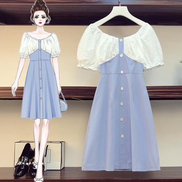 洋裝 連身裙 中大尺碼L-4XL新款時尚遮肚子收腰法式桔梗氣質連衣裙4F093-3708.胖胖美依