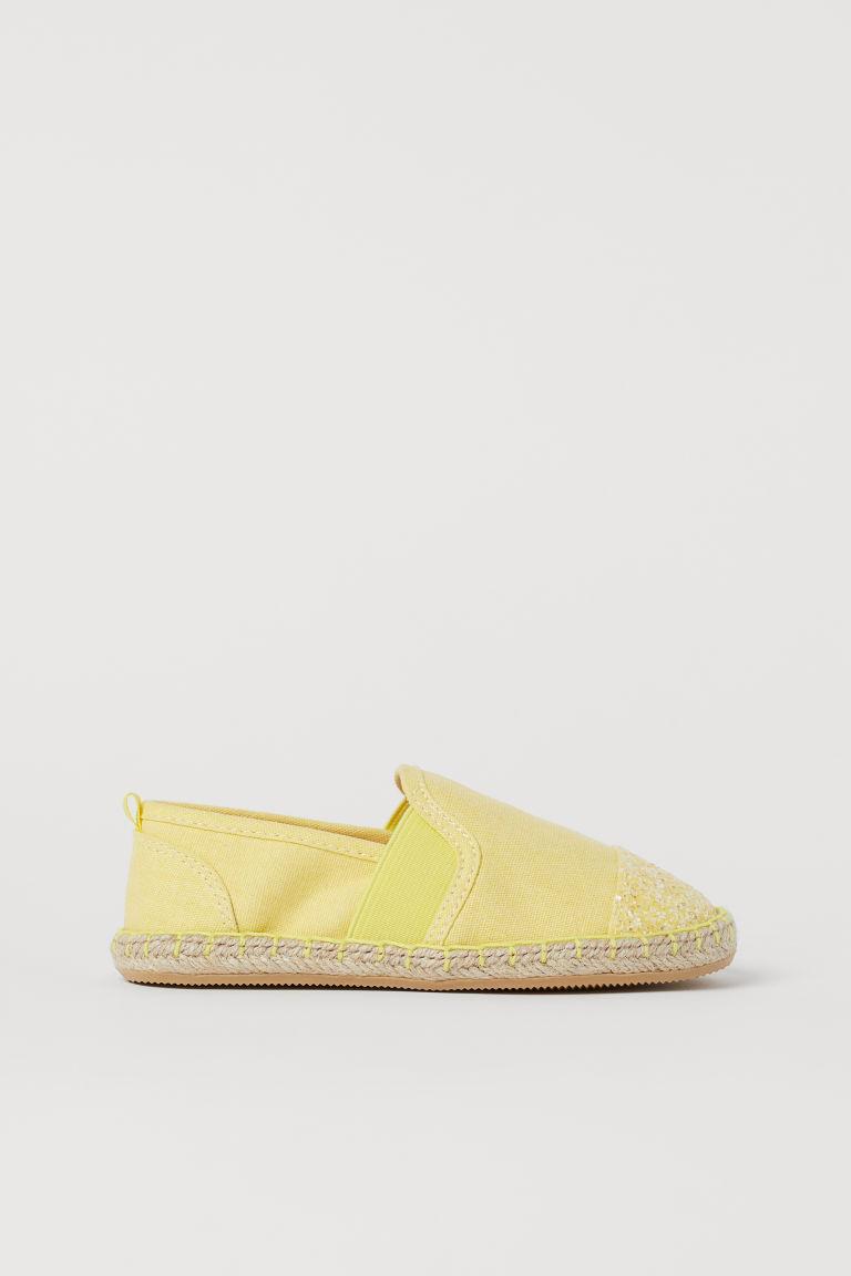 H & M - 金蔥細節草編鞋 - 黃色