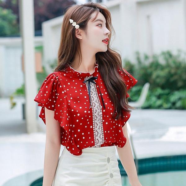 襯衫雪紡上衣短袖S-2XL8251夏女時尚氣質蕾絲蝴蝶結荷葉邊波點立領短袖雪紡襯衫T614紅粉佳人