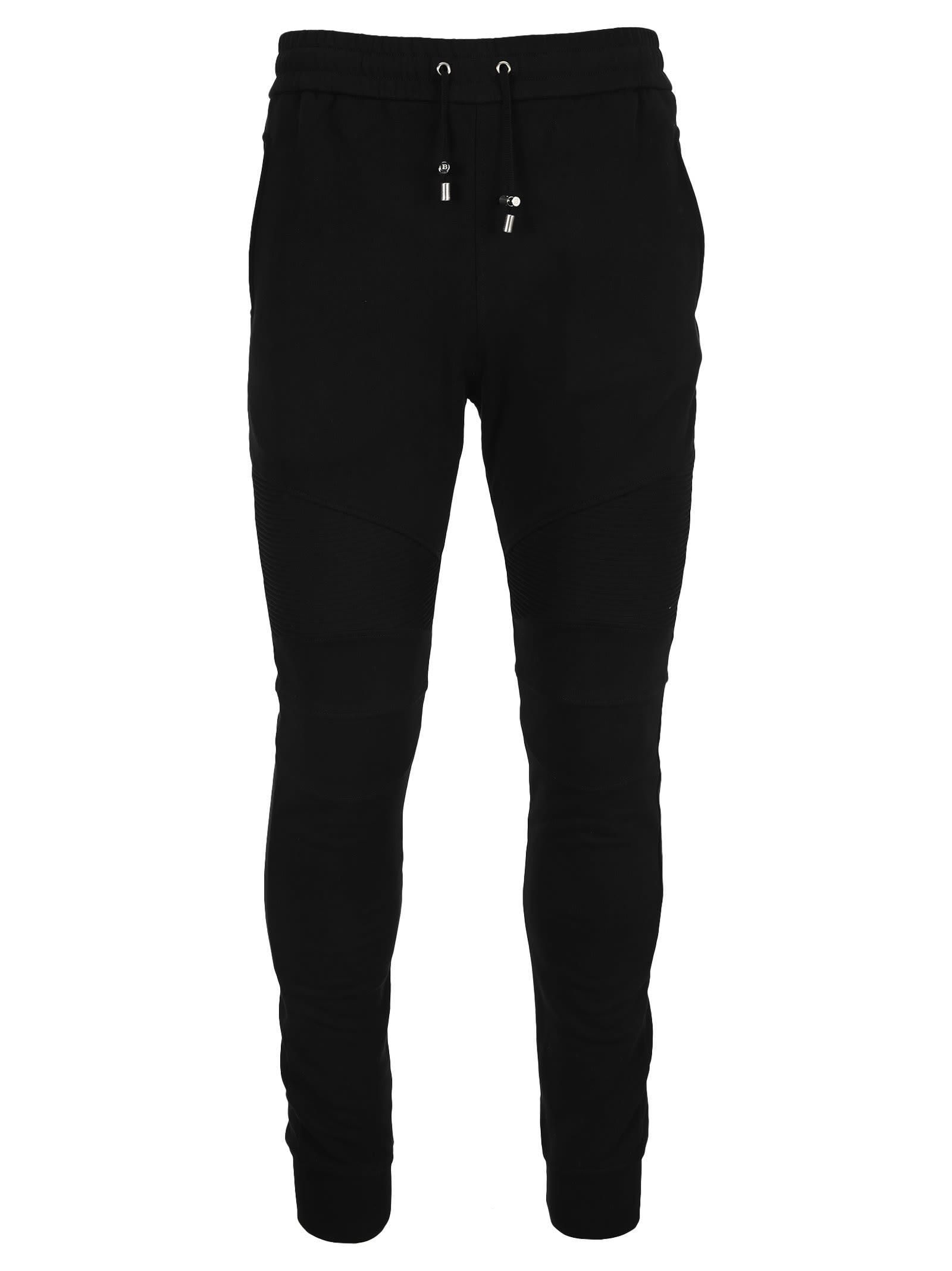 Balmain Black Flocked Logo Track Pants