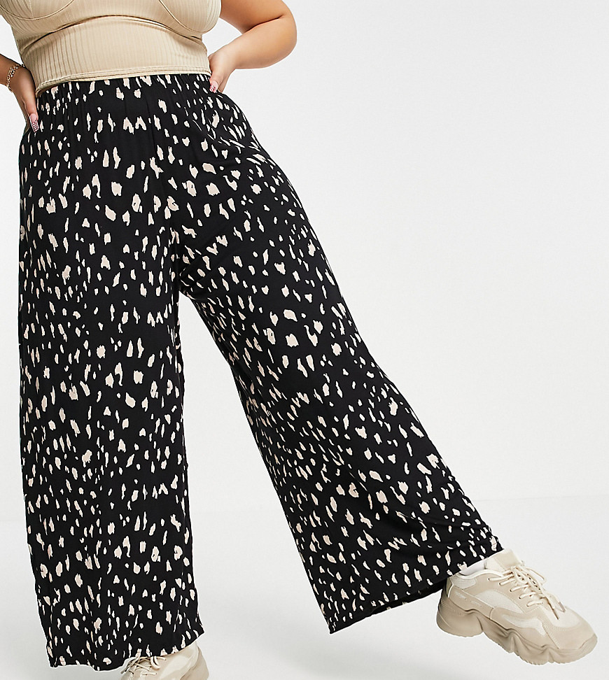 Yours wide leg trousers in black animal print-Multi
