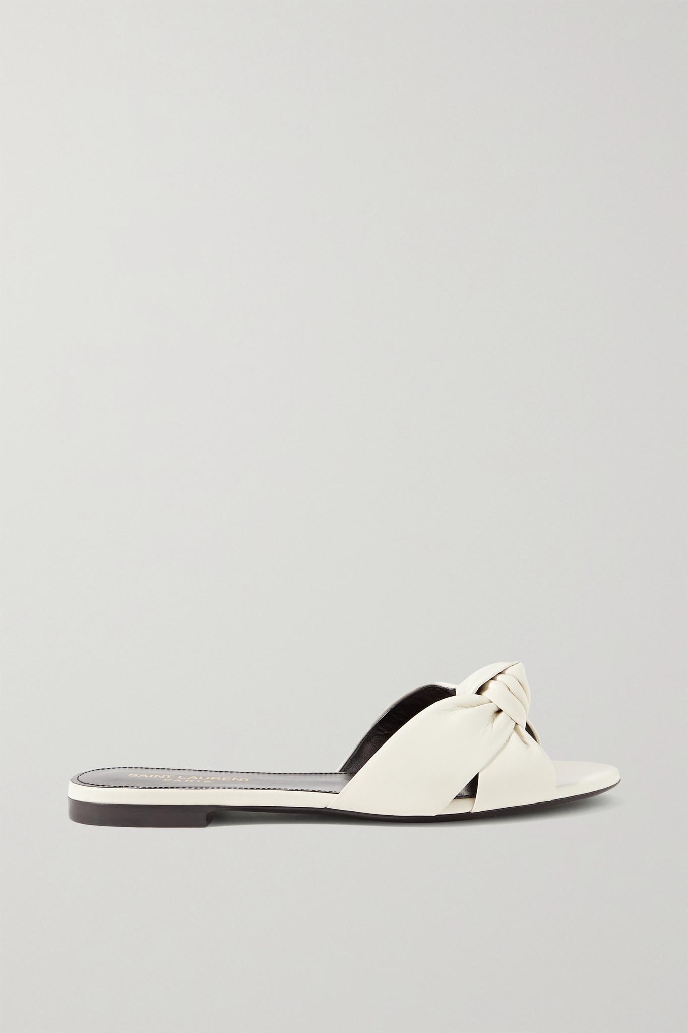 SAINT LAURENT - Bianca Knotted Leather Slides - Ivory - IT39