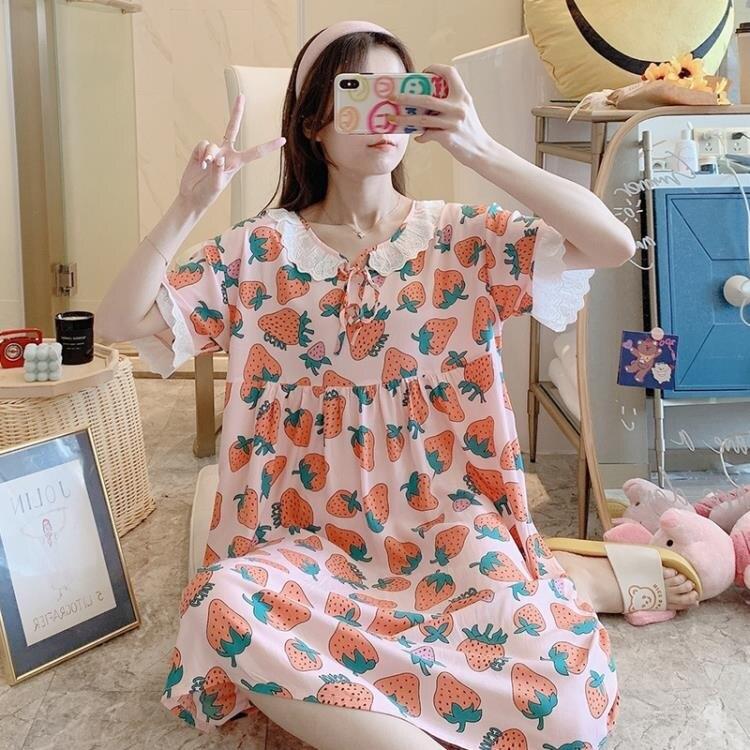 棉綢睡衣女夏季薄款網紅INS風人造棉睡裙日系可外穿短袖綿綢【百淘百樂】