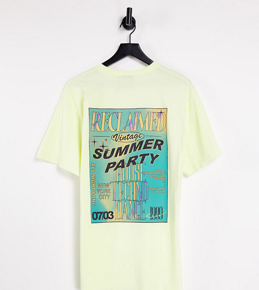 Reclaimed Vintage inspired summer party t-shirt in yellow