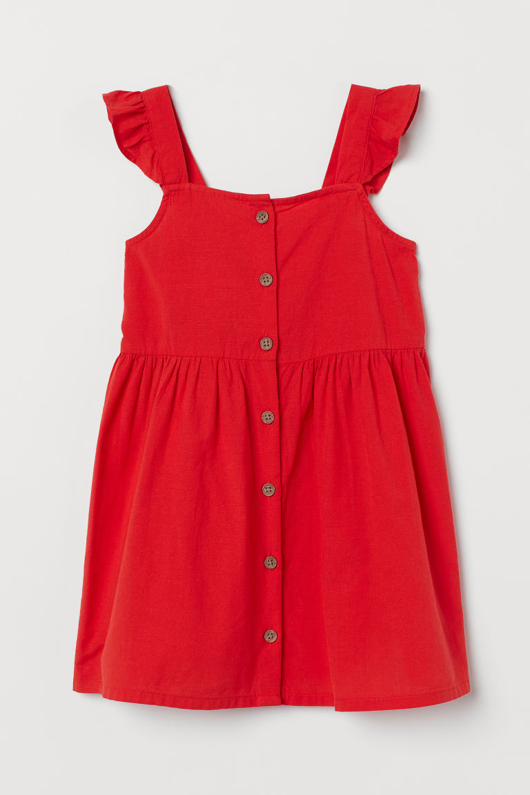 H & M - 棉質洋裝 - 紅色