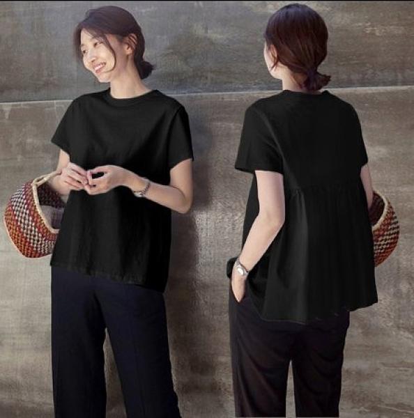 韓 寬鬆上衣 短袖T恤寬鬆白色純棉休閒百搭蓬蓬上衣娃娃衫非D07.9505 韓依紡