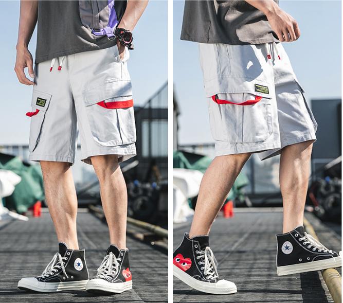 FINDSENSE X  男生多口袋五分褲工裝休閑短褲寬鬆沙灘褲五分褲