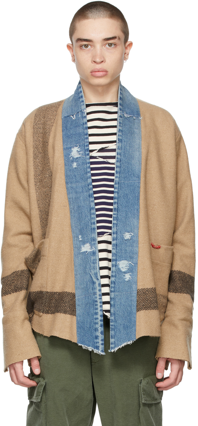 Greg Lauren 黄褐色 Striped Blanket Boxy 开衫