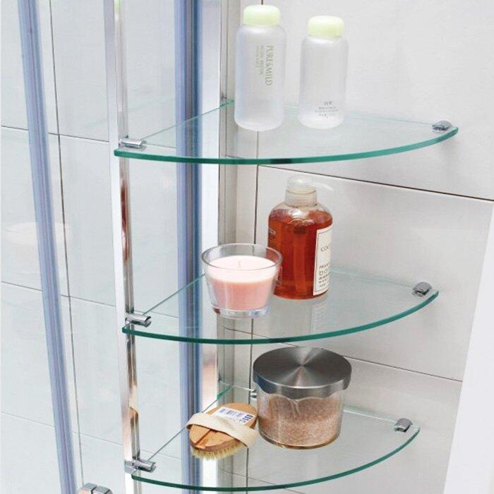 淋浴房玻璃置物層架浴室牆角三腳架鋼化玻璃壁掛洗漱用品收納架