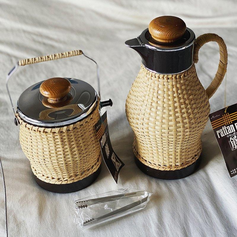 日本昭和 手工藤編水壺 咖啡壺 魔法瓶 保溫壺