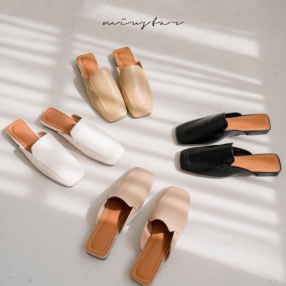 MIUSTAR 石頭紋方頭皮質穆勒鞋(共4色,35-39)穆勒鞋 拖鞋 0420 預購【NJ1233】