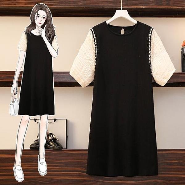 洋裝拼接裙子中大尺碼M-4XL新款大碼修身顯瘦氣質赫本風胖mm洋氣連身裙4F053-2375.皇潮天下