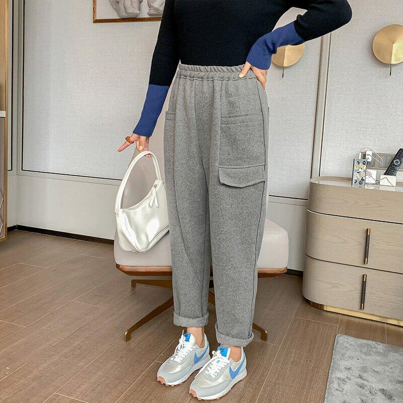 2020冬季新款韓版中大尺碼女裝200斤胖mm加大加肥雙兜休閒褲