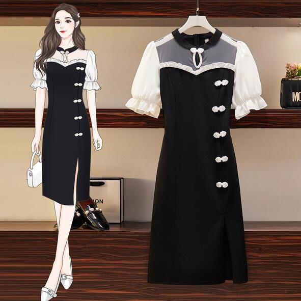 洋裝 連身裙 中大尺碼 L-4XL新款改良旗袍大碼洋氣復古風中長款裙子4F054-6805.胖胖美依