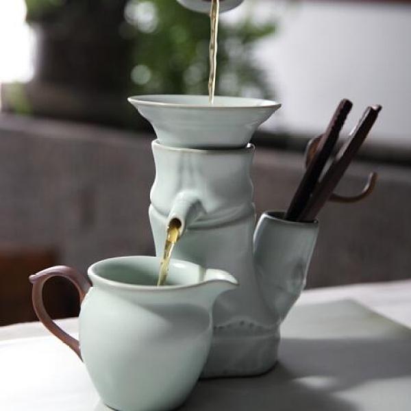 汝窯竹節過濾器茶漏架陶瓷茶具泡茶器濾網茶隔茶葉過濾創意wm