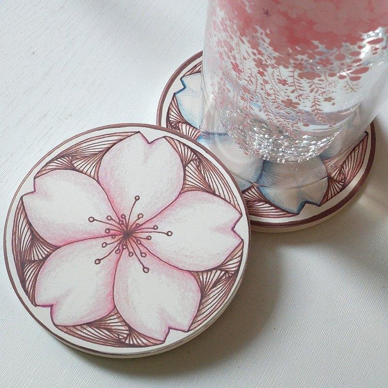 香港原創 期間限定 櫻花 吸水防滑杯墊 | 禪繞藝術 共2款