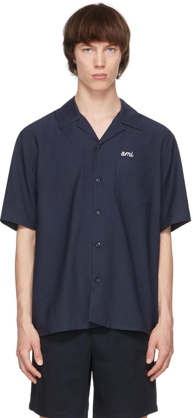 AMI Alexandre Mattiussi 海军蓝 Ami 短袖衬衫