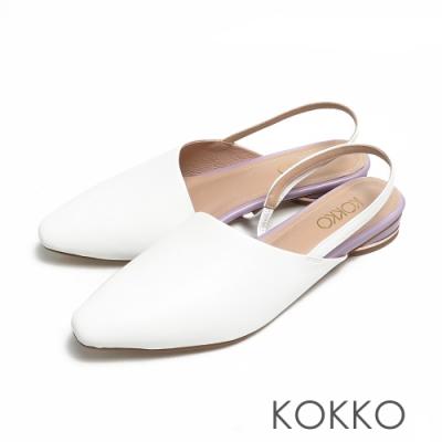 KOKKO方頭輕柔霧感綿羊皮後帶平底穆勒鞋白色